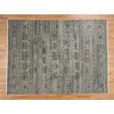 8 9 x11 9 hand knotted pure wool abrash design with greens