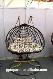 wicker swing chair with stand basket
