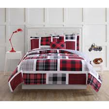 my world buffalo plaid 4 piece red and black full quilt set