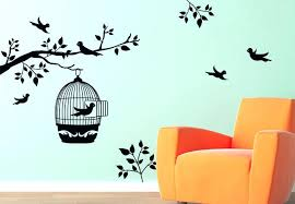 flower wall art wall art flowers black bird cage and trees picture removable wall decals decoration flower wall art