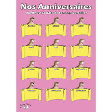 French Birthday Chart A3 Nos Anniversaires