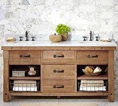 reclaimed wood vanity bathroom. Benchwright Double Sink Console, Wax Pine Finish - Farmhouse Bathroom Vanities And Consoles Pottery Barn Reclaimed Wood Vanity I