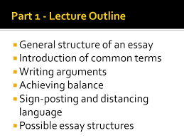 part the essay structure ppt part 1 lecture outline general structure of an essay