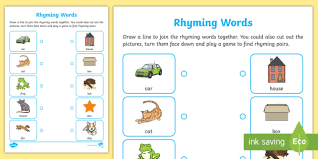 This preschool worksheet uses words and pictures to help your child practice rhyming simple words. Rhyming Words Activity Worksheet Home Learning