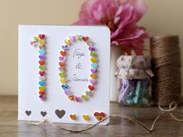 10th Wedding Anniversary Card Handmade Personalised Tenth