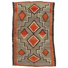 antique navajo trans blanket oriental rug handmade wool rug orange gray for