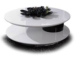 coffee table modern lacquered white and black round swivel top coffee table kazo glass coffee