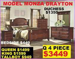 Queen 1399 King Bed 1599 Bedroom Suite Queen 4 Piece 3199 Available  ASH Model Ethan Monza