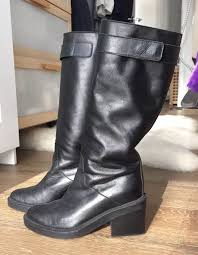 details about helmut lang slouch mid calf black leather boots size 6 made in italy