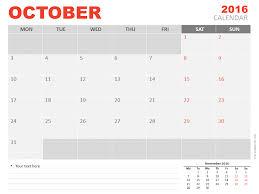 October 2016 Powerpoint Calendar Presentationgo Com