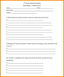 Book Report Template Grade Reading Outline 5Th Sample Form – Ukcheer ...
