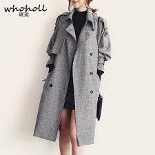 whoholl women plaid trench coat big size jpg