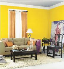 Painting Wall For Living Room Living Room Bold Orange Painting Wall End Table Lampshade Decor