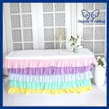 ruffled table skirt new five tiered ruffled pleated steps in party chiffon rainbow pastel table skirt