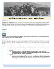 Puritans And Quakers Venn Diagram Compare And Constrast John Winthrop And William Penn