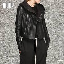 black genuine leather coat women sleek sheepskin hooded motorcycle jacket elasticized rib knit panel at sleeves