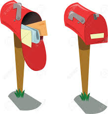 closed mailbox. A Cartoon Representing Two Mailboxes: The First Opened With Mail, Second One Closed Mailbox C