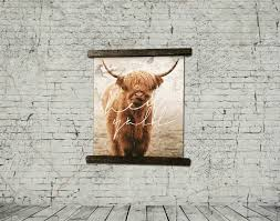 canvas print wall art hey y all steer boho rolled wall decor framed with recycled vintage wood