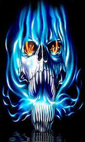 skull flickering in blue flames along