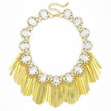 <b>Crystal Fringe Necklace</b> - glass <b>crystal</b> statement <b>bib necklace</b> by ...