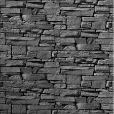 black stone wall texture. Grandeco Dax Dry Stone Wall Slate Brick Effect Vinyl Wallpaper Roll 827088 Black Texture