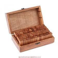 70 pcs vintage diy number and alphabet letter wood rubber stamps set with wooden box