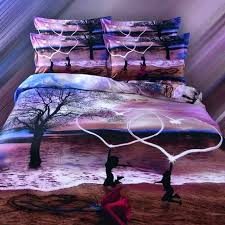 4pc set 100 cotton romantic purple beach with heart and red rose 3d bedding sets king beach scene duvet cover uk