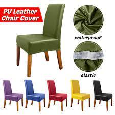 capa para cadeira de jantar em couro pu