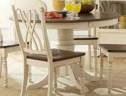 ohana antique white warm cherry round dining table