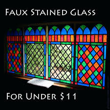 easy faux stained glass tips for painting on windows black electrical tape and acrylic paint sponged