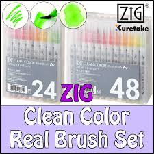Zig Clean Color Real Brush Pen Set Of 6 12 24 36 48 60 Sketching Illustrating Blending Designing Calligraphy Cartooning Water Color Effects Good
