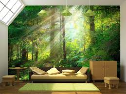forest wall mural black and white