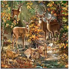 rhinestone painting crystal home decor diy diamond painting deer in the fall woods 5d cross stitch