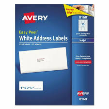 Avery 8160 White Address Labels Inkjet Easy Peel 1 X 2 5 8 Laser 30 Per Sheet