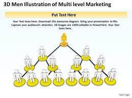 Network Marketing Chart Business Plan Diagram 3d Men Illustration Of Multi Level