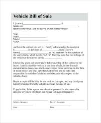 Printable Bill Of Sale Template Contract Form Car Agreement