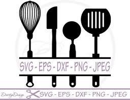 kitchen utensils split silhouette. Delighful Split Split Kitchen Utensils SVG Monogram Svg Dxf By DoortjeDesign On Silhouette G
