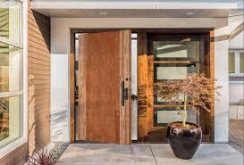 entryway with cherry and walnut contemporary exterior door