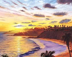 laa beach painting laa village sunset by steve simon
