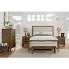 D Cambridge 5Piece King Bedroom Set With Solid Wood And Upholstered Trim In  Oak Gray