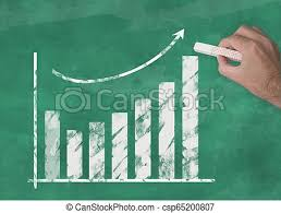 Blackboard Chart Price Hand Drawing Rising Curve Chart On Blackboard Illustrating Business Success Or Rising Stock Prices