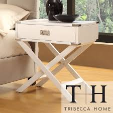 TRIBECCA HOME Neo White Accent Table with X Leg Nightstand | Overstock.com