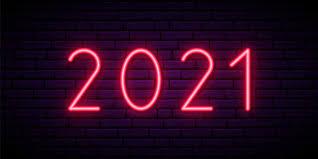 Premium Vector | 2021 neon sign, bright signboard.