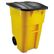 rubbermaid commercial s brute 50 gallon yellow plastic commercial outdoor wheeled trash can with lid