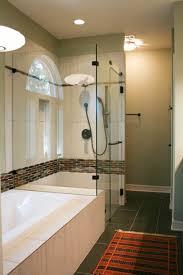 master bathroom shower tile. Mid-century Modern Master Bathroom Remodel Earth Tone Glass Mosaic Tile Shower Tub