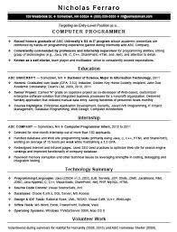 Sample Programmer Resume Programmer Resume Sample 60 Computer mhidglobalorg 18