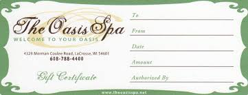 the oasis spa gift certificates