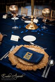 Blue And Gold Table Setting Weddings Events By Gisele