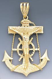 14k gold diamond cut cross and anchor pendant 65