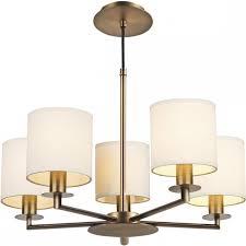 tyler 5 arm warm bronze ceiling light with cream cotton shades